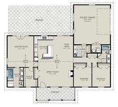 Ranch Style House Plan - 3 Beds 2 Baths 1924 Sq/Ft Plan #427-6 Floor Plan - Main Floor Plan - Houseplans.com