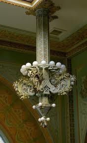 One of four electroliers in the Louis Sullivan/George Elmslie designed National Farmers' Bank in Owatonna, MN Art Nouveau Architecture, Historical Architecture, Architecture Details, Chandelier Lamp, Lamps, Chandeliers, Louis Sullivan, Art Nouveau Furniture, Arts And Crafts Movement