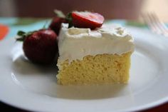 Tres Leches Cake - classic Mexican dessert - light vanilla sponge cake, saturated with 3 milks
