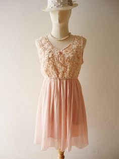 Inexpensive Peach Dress with Flowers