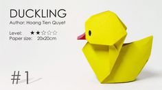 Origami Duckling – Baby Duck – Vịt con (Hoàng Tiến Quyết) – Origami Community : Explore the best and the most trending origami Ideas and easy origami Tutorial Origami Duck, Chat Origami, Kids Origami, Origami And Kirigami, Origami Love, Origami Bird, How To Make Origami, Paper Crafts Origami, Easy Origami