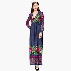 Swing Robe Aux femmes Vacances / Grandes Tailles Bohème,Imprimé V Profond Maxi Manches Longues Bleu Coton / Polyester Eté de…