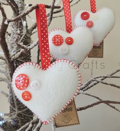 x3 Buttony Heart Felt Christmas Decorations