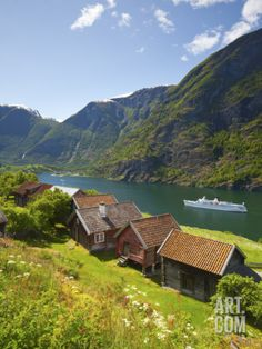 Elevated View over Otternes Bygdetun, Aurlands Fjord, Sogn Og Fjordane, Norway Photographic Print by Doug Pearson at Art.com