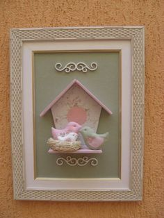 Quadro ninho de passarinhos para porta de maternidade ou decoração de quarto infantil. R$ 70,00