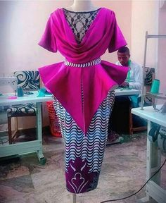 Image may contain: 1 person, standing and indoor African Bridesmaid Dresses, African Lace Dresses, African Dresses For Women, African Attire, African Fashion Ankara, African Inspired Fashion, Latest African Fashion Dresses, African Print Fashion, Short Ankara Dresses