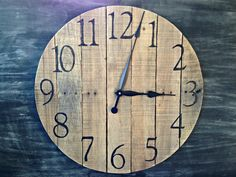 """24"""" Rustic Pallet Wood Wall Clock by TickTockCreations on Etsy https://www.etsy.com/listing/212252267/24-rustic-pallet-wood-wall-clock"""