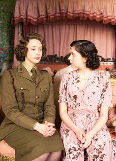 Young Princess Elizabeth and Princess Margaret - Sarah Gadon and Bel Powley in A Royal Night Out (2015).