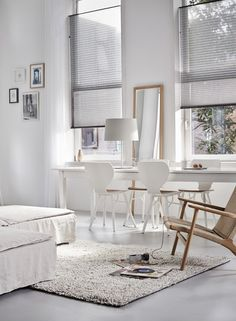 Scandinavian style can be threaded through all kinds of design styles from rustic, minimal or traditional. For rustic, a fresh take on the look can be interior wall cladding, using textured planks as an updated version of traditional panelling. For those with minimal tastes try using a sheer window covering that allows you to bring the natural indoors, such as Duette® Shades in a neutral grey or beige.