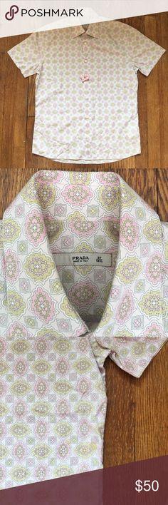 Prada Short Sleeve Button Down Dress Shirt Cleaned and in good condition. No rips. Stain below left sleeve - refer to photo. Prada Shirts Casual Button Down Shirts