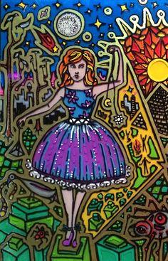 "Artist Vinny Michaud painting on glass of ""Beitressa Mandelbaum"". Religious, Creature, Alien, Occult, Portraits & space Art by Vincent Michaud.  http://www.vincentmichaud.vision/painting/"