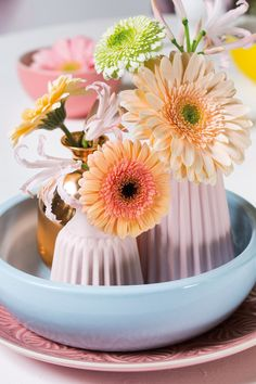Tiny gerberas inside different size vases #pinkgerberas #flower #floral #whitegerberas #inspiration #colouredbygerbera #dutchgerbera