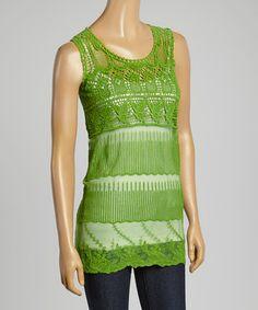 Look what I found on #zulily! Green Crochet & Lace Tank - Women #zulilyfinds