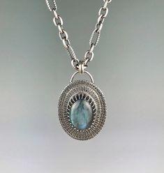 Labradorite and Sterling Stamped Oval Necklace Artisan Jewelry, Handmade Jewelry, Metal Jewelry, Precious Metals, Labradorite, Pendant Necklace, Beauty, Design, Handmade Jewellery
