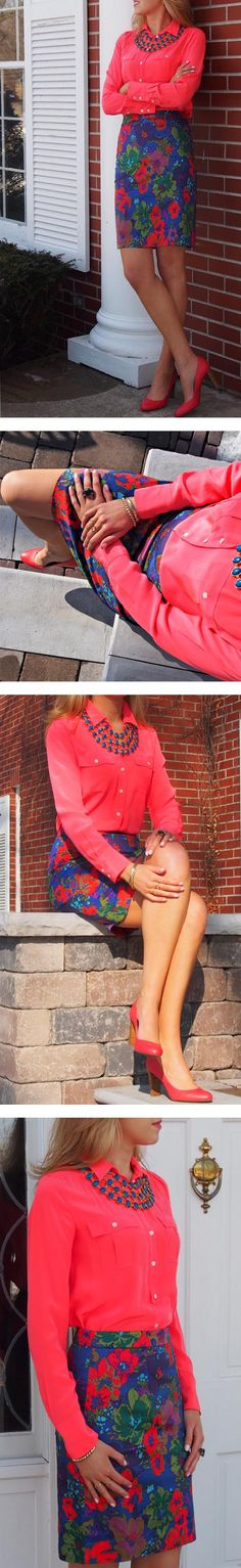 The Classy Cubicle: A professional twist on neon and floral.  Check out more swanky office attire on the blog!