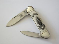 Scrimshaw Pocket Knife with Ship
