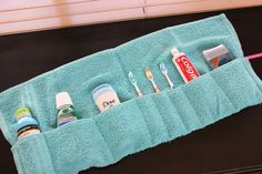 How smart and resourceful! Washcloth travel pouch!