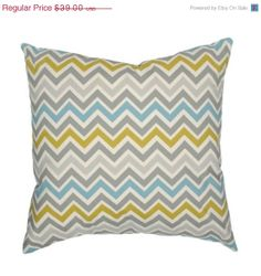 October SALE Decorative Pillow Cover Chevron Summerland Mustard Teal and Gray 20x20
