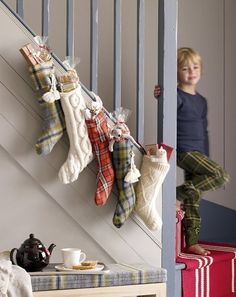 Stockings made from old flannel shirts & sweaters! Love it!