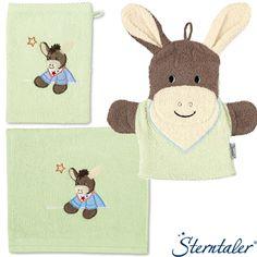 3tlg Waschset Esel Emmi - Waschhandschuh Kinder Handtuch Spiel Motiv Waschhandschuh STERNTALER