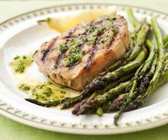 Grilled Pork and Asparagus with Lemon Dressing