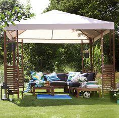 Easy and cheap outdoor gazebo idea from ikea