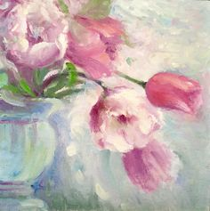 """Original Oil Painting by Tina Wassel Keck, 8 x 8"""", """"Romance in Bloom"""""""