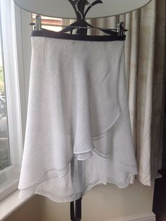 Double layer chiffon ballet practise rehearsal or performance skirt. White with tiny black dots with charcoal grosgrain ribbon. Made to order ballet and dance skirts. See my Etsy shop - Flicflacdance