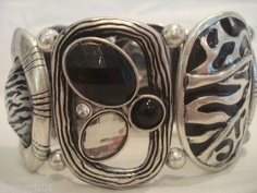 NEW! BEAUTIFUL!!  DESIGNER INSPIRED ZEBRA/STONE PRINT STRETCH BRACELET.  PLEASE CHECK OUT THE MATCHING NECKLACE AND EARRINGS SET!!