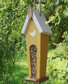 Yellow Handcrafted Wooden Bird Feeder  functional by HomeGrownYou
