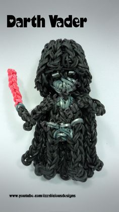Rainbow Loom Darth Vader Charm Action Figure tutorial by Izzalicious Designs Kate Schultz.