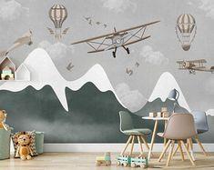 Kids Room Murals, Nursery Wall Murals, Murals For Kids, Wall Decals, Nursery Decor, Wall Stickers, Airplane Room Decor, Airplane Nursery, Airplane Kids