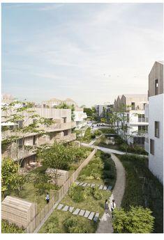 Architecture Résidentielle, Architecture Visualization, Social Housing Architecture, Landscape Design Program, Urbane Analyse, Habitat Collectif, Design Cour, Courtyard Design, Urban Farming