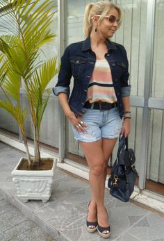 Look Casual – Shorts Jeans e Listras