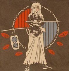 Rurouni Kenshin posing w/sakaba blade walnut brwn T-shirt tee Tshirt
