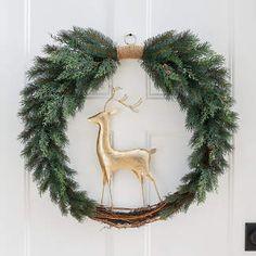 Nostalgic Deer Wreath Christmas Tree Farm, Plaid Christmas, Xmas, Holly Wreath, Grapevine Wreath, Holiday Wreaths, Holiday Ornaments, Halloween Decorations, Christmas Decorations