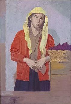 Autumn France, (Oil on kraft paper)Yannis Tsarouchis, Greek painter Greece Painting, Main Theme, Greek Art, Art Database, Caravaggio, Portraits, Gay Art, Figurative Art, Art Boards