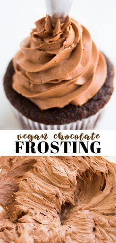 dairy is needed for this easy Vegan Chocolate Buttercream Frosting! Perfect for cakes, cupcakes and more.No dairy is needed for this easy Vegan Chocolate Buttercream Frosting! Perfect for cakes, cupcakes and more. Two-Ingredient Chocolate Frosting Vegan Chocolate Frosting, Vegan Vanilla Cake, Vegan Frosting, Best Vegan Chocolate, Vegan Cake Icing Recipe, Icing Frosting, Cake Chocolate, Vegan Dessert Recipes, Vegan Sweets