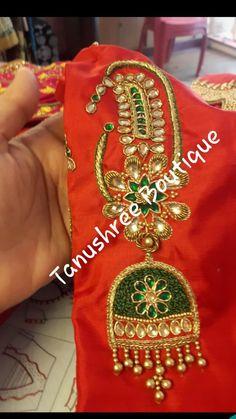 Simple Blouse Designs, Silk Saree Blouse Designs, Bridal Blouse Designs, Embroidery On Kurtis, Kurti Embroidery Design, Hand Embroidery Designs, Hand Work Design, Designer Blouse Patterns, Work Blouse
