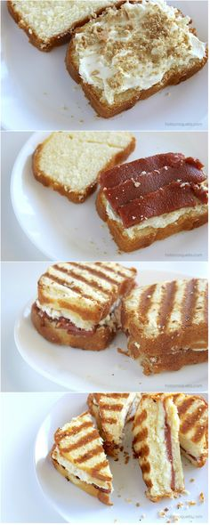 Guava Grilled Cheese: Cream cheese, slabs of guava, crumbled Maria cookies on pound cake and grilled to perfection | HolaCroqueta.com