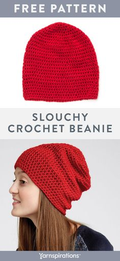 This slouchy crochet beanie pattern for teens is made with worsted weight Caron Simply Soft yarn which is machine washable and dryable Yarnspirations Caron CaronSimplySoft FreeCrochetPattern CrochetHat Crochet Diy, Bonnet Crochet, Crochet Crafts, Crochet Ideas, Beanie Pattern Free, Crochet Beanie Pattern, Crochet Patterns, Crochet Slouchy Hat, Crochet Hat Patterns