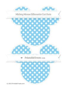Baby Blue Dotted Pattern Large Mickey Mouse Silhouette Cut Outs