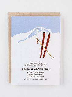 A simple, ski-themed save-the-date card   Brides.com