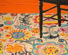 """Kate Lewis Art. """"Look at that Rug and Half of a Black Chair"""", 2012. Graphite, Watercolor, Gouache and Acrylic."""