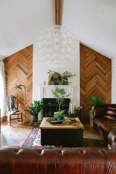 I love the geometric cleverness of these walls. And that light fixture is so dreamy <3