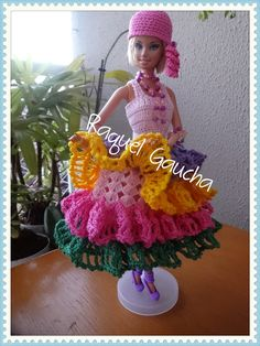 #Cléa1000 #Cléa5 #Vestido #Dress Muñeca #Doll #Crochet #Barbie #RaquelGaucha