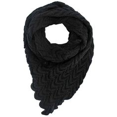 Black Chevron Knit Triangle Scarf ($28) ❤ liked on Polyvore featuring accessories, scarves, black, triangle scarves, black knit shawl, black scarves, black shawl and triangular shawl