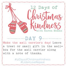 Join Karen Ehman for 12 Days of Christmas Kindness + Giveaways! 12 simple ideas inspired by her new book, Listen Love Repeat. 12 Days Of Christmas, Christmas Morning, Christmas Holidays, Christmas Ideas, Holiday Ideas, Christmas Activities, Christmas Planning, Merry Christmas, Christmas Crafts