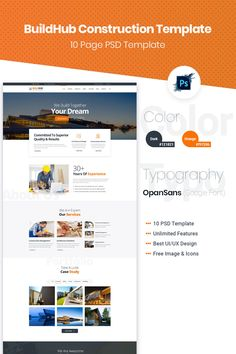 BuildHub is construction, renovation, interior design company PSD is with clean and minimal design. Includes full functions necessary and researched detail Real Estate Website Templates, Free Design, Ad Design, Landing Page Design, Interior Design Companies, Web Design Inspiration, Design Development, Minimal Design, Psd Templates