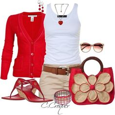 Red cardigan, white top, khaki shorts, brown belt  red sandals & handbag